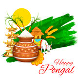 Happy Pongal greeting background Royalty Free Stock Photos