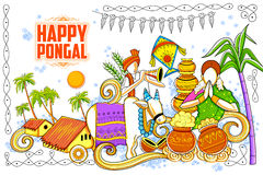 Happy Pongal greeting background Royalty Free Stock Photo