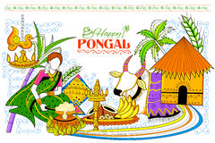 Happy Pongal greeting background Stock Photos