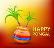 Happy Pongal greeting card on beautiful bright sunny background. Royalty Free Stock Photos