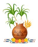 Happy pongal greeting card. Holiday India. Festival of harvesting celebrations with rice in traditional mud pot Stock Images