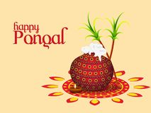 Happy Pongal greeting card, traditional pot, sugarcane and illuminated oil lamp on rangoli for South Indian harvest festival. Celebration stock illustration