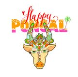 Happy pongal - hand lettering text with decorative cow head. To south indian festival design, vector illustration Royalty Free Stock Photos