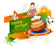 Happy Pongal Holiday Harvest Festival of Tamil Nadu South India greeting background. Illustration of Happy Pongal Holiday Harvest Festival of Tamil Nadu South Royalty Free Stock Photos
