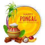 Happy Pongal Holiday Harvest Festival of Tamil Nadu South India greeting background stock illustration