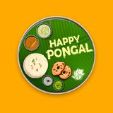 Happy Pongal Holiday Harvest Festival of Tamil Nadu South India greeting background royalty free illustration