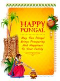 Happy Pongal Holiday Harvest Festival of Tamil Nadu South India greeting background. Illustration of Happy Pongal Holiday Harvest Festival of Tamil Nadu South Stock Images