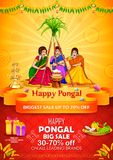 Happy Pongal Holiday Harvest Festival of Tamil Nadu South India Sale. Illustration of Happy Pongal Holiday Harvest Festival of Tamil Nadu South India Sale and vector illustration