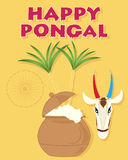 Happy pongal. An illustration of a happy pongal greeting card with overflowing pot sugar canes a cow head and india symbol on a mustard background Stock Image