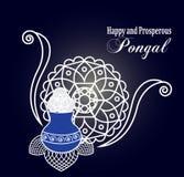 Happy Pongal. Rangoli  background. Happy and prosperous Pongal wishes. Elegant mandala and rice pot to celebrate harvest festival Royalty Free Stock Photography