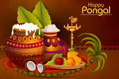 Happy Pongal religious holiday background for harvesting festival of India. In vector Royalty Free Stock Photo