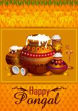 Happy Pongal religious holiday background for harvesting festival of India. In vector Stock Photos