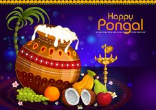 Happy Pongal religious holiday background for harvesting festival of India. In vector Stock Photography