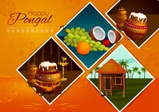 Happy Pongal religious holiday background for harvesting festival of India. In vector Stock Photo