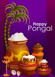 Happy Pongal religious holiday background for harvesting festival of India. In vector Royalty Free Stock Photos