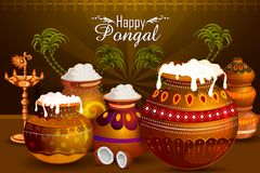 Happy Pongal religious holiday background for harvesting festival of India. In vector Royalty Free Stock Images