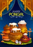 Happy Pongal religious holiday background for harvesting festival of India. In vector Royalty Free Stock Photography