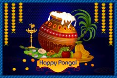 Happy Pongal religious holiday background for harvesting festival of India. In vector Stock Image