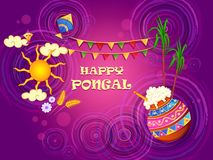 Happy Pongal religious traditional festival of Tamil Nadu India celebration background. Vector design of Happy Pongal religious traditional festival of Tamil stock illustration