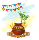 Happy Pongal South Indian harvesting festival greeting card. With pongal rice in a traditional mud pot, wheat grain and bamboo. Vector illustration stock illustration