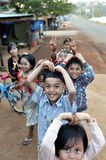 Happy poor smile children in asia village Royalty Free Stock Photography