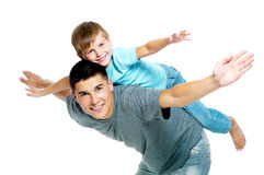 Happy portrait of the father and son Stock Images