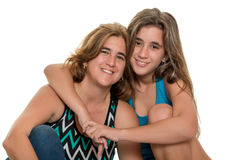 Happy portrait of a happy mother and her teen daughter Royalty Free Stock Photos