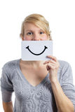 Happy Portrait of Someone Holding a Smiling Mood Board Royalty Free Stock Photo