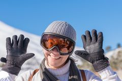 Happy portrait of a woman after skiing at mountain  Ziria in Greece. Stock Images