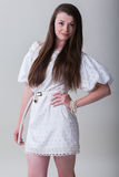 happy portrait woman young απομονωμένος στο άσπρο beauti υποβάθρου Στοκ Εικόνες