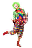Happy posing female clown. Isolated on white Stock Photo