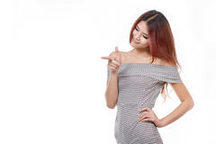 Happy, positive, beautiful woman pointing, choosing Royalty Free Stock Photos