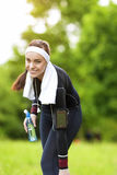 Happy Positive Caucasian Fit Woman Outdoors Making Training Exer Royalty Free Stock Photo