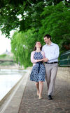 Happy positive couple walking together Royalty Free Stock Photos