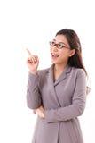 Happy, positive female business executive, business woman pointing up. Happy, positive female business executive, business woman pointing one finger up, white Stock Photos