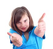 Happy positive girl show thumb up Royalty Free Stock Photography