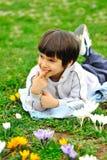 Happy positive kid. In park Stock Photos