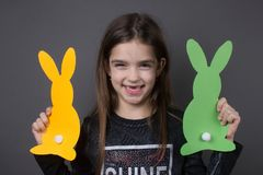 Happy positive little girl. Portrait easter celebration traditional event cute Stock Photography