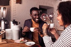 Happy positive nice couple having coffee together stock photos