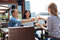 Happy positive people enjoying their wine. Pleasant communication. Happy positive nice people smiling and enjoying their wine while meeting together in the Stock Photo