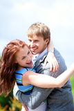 Happy positive romantic loving couple Stock Images