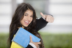 Happy positive teen girl with books Royalty Free Stock Image