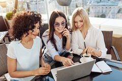 Happy positive woman pointing at the laptop screen Stock Image