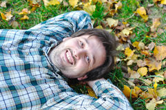 Happy positive young man Stock Photos