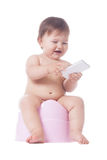 Happy potty training Stock Image