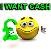 Happy Pound Guy I Want Cash. An image of a happy cartoon, who is greedy for cash Stock Images