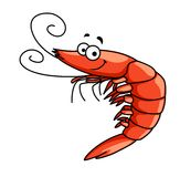 Happy prawn or shrimp with curly feelers Stock Photography