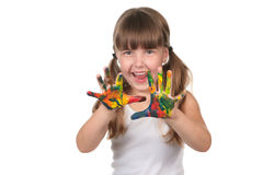Happy Pre School Kid With Painted Hands Royalty Free Stock Photo