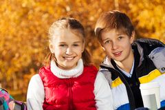 Happy pre teen couple Royalty Free Stock Image