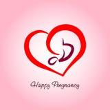 Happy Pregnancy logo. Vector illustration of pregnancy and embryo stock illustration